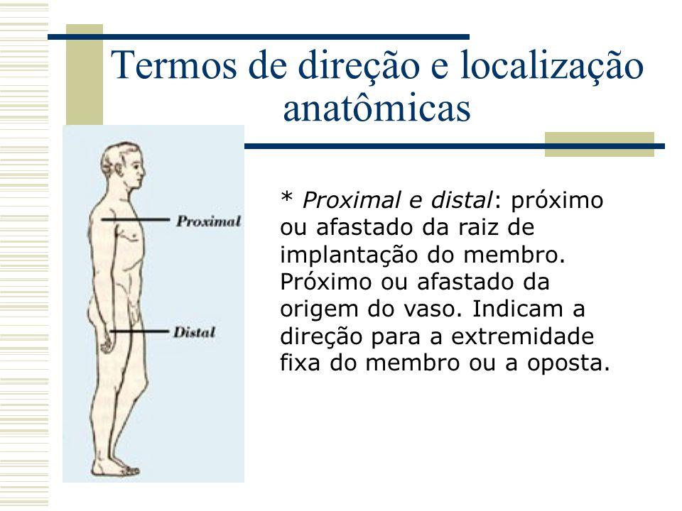 Termos de direção e localização anatômicas * Proximal e distal: próximo ou afastado da raiz de implantação do membro. Próximo ou afastado da origem do