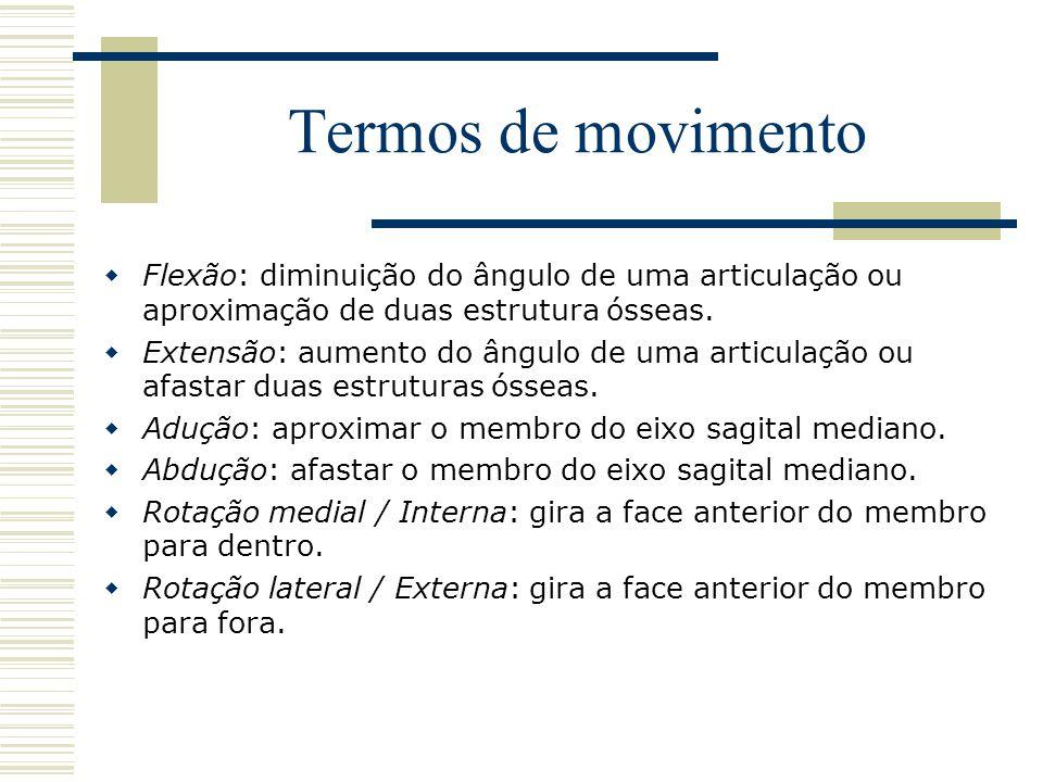 Termos de movimento  Flexão: diminuição do ângulo de uma articulação ou aproximação de duas estrutura ósseas.  Extensão: aumento do ângulo de uma ar