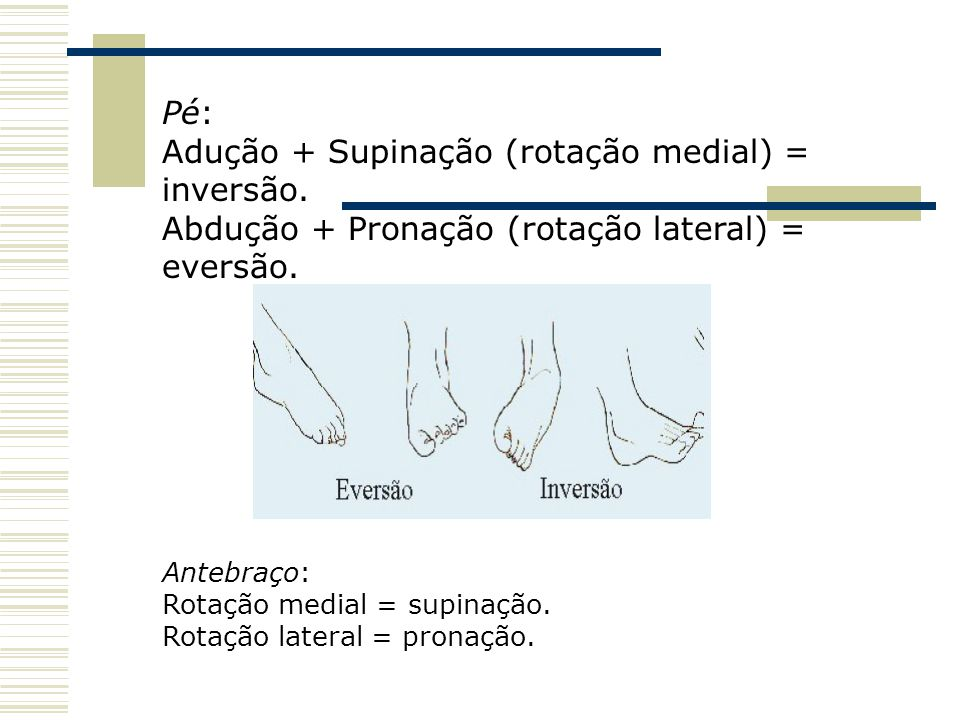 Pé: Adução + Supinação (rotação medial) = inversão. Abdução + Pronação (rotação lateral) = eversão. Antebraço: Rotação medial = supinação. Rotação lat