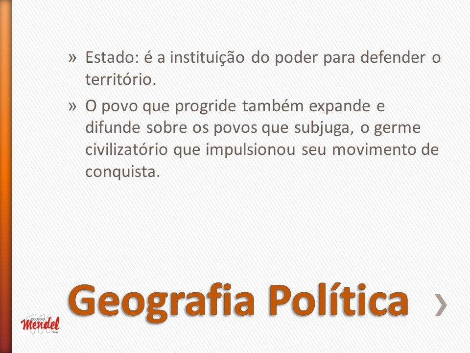 » Estado: é a instituição do poder para defender o território.