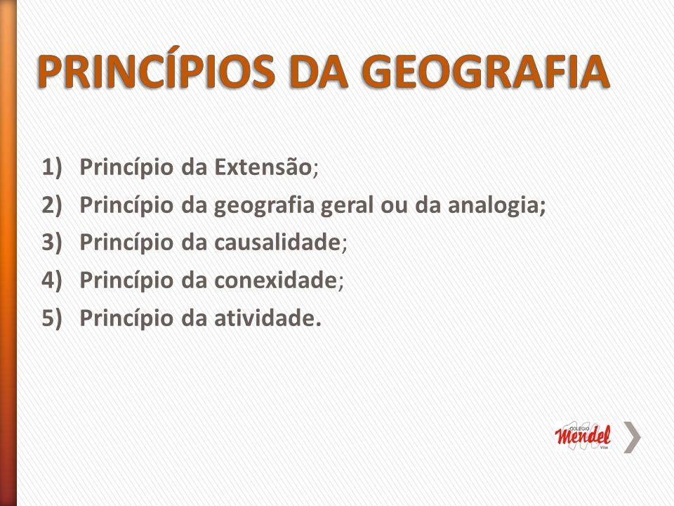 1)Princípio da Extensão; 2)Princípio da geografia geral ou da analogia; 3)Princípio da causalidade; 4)Princípio da conexidade; 5)Princípio da atividade.