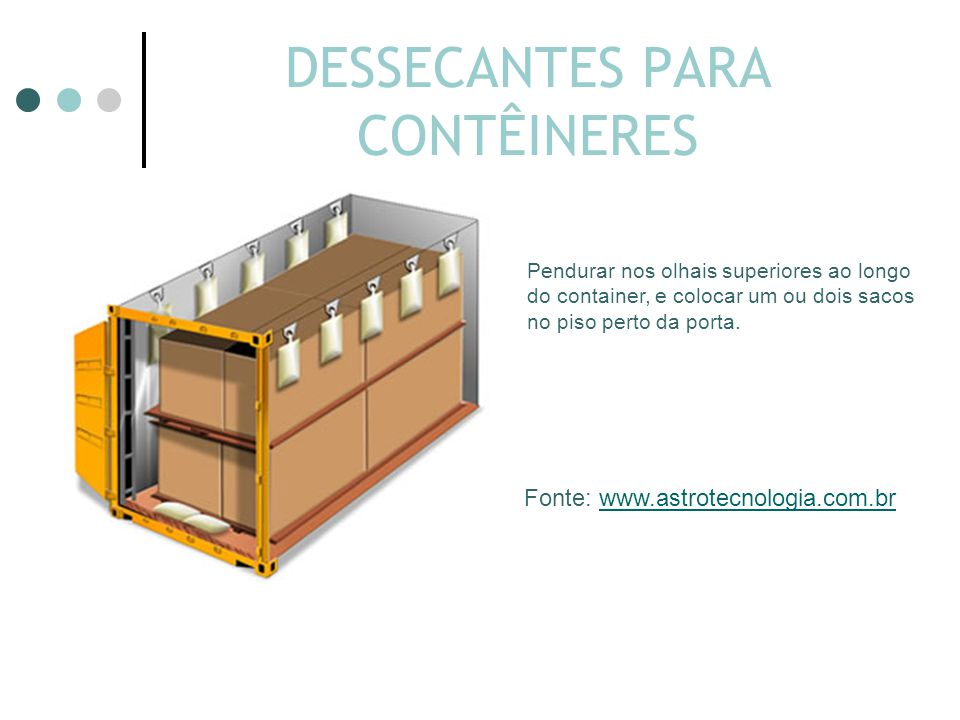 DESSECANTES PARA CONTÊINERES Pendurar nos olhais superiores ao longo do container, e colocar um ou dois sacos no piso perto da porta.