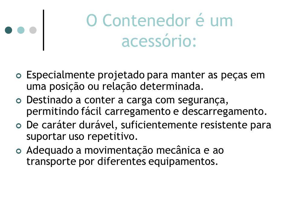O Contenedor é um acessório: Especialmente projetado para manter as peças em uma posição ou relação determinada.