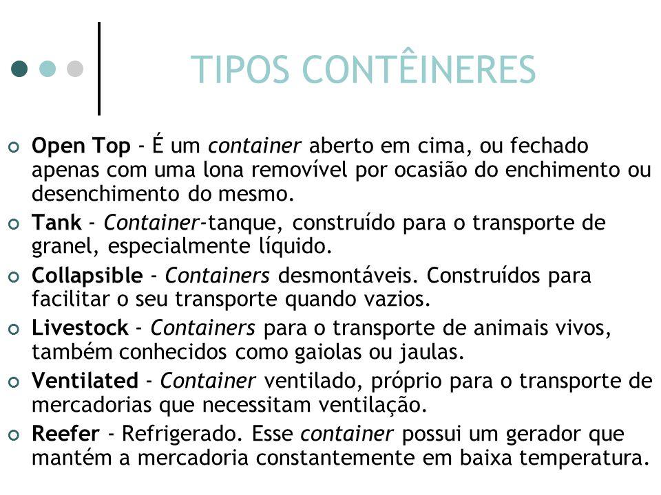 TIPOS CONTÊINERES Open Top - É um container aberto em cima, ou fechado apenas com uma lona removível por ocasião do enchimento ou desenchimento do mesmo.