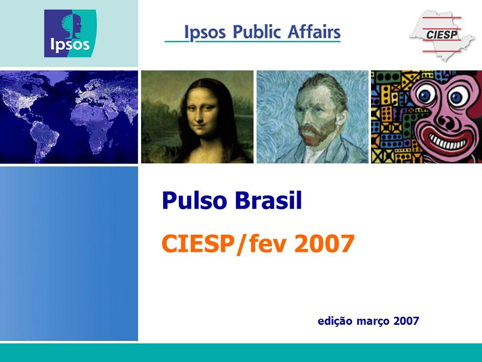 [ 2 ] Pulso Brasil  1000 entrevistas mensais nacionais  12.000 entrevistas por ano  Amostra probabilística com cota, representativa do eleitorado a respeito de sexo, idade, educação, PEA, e região (PNAD 2002 e TSE 2004).