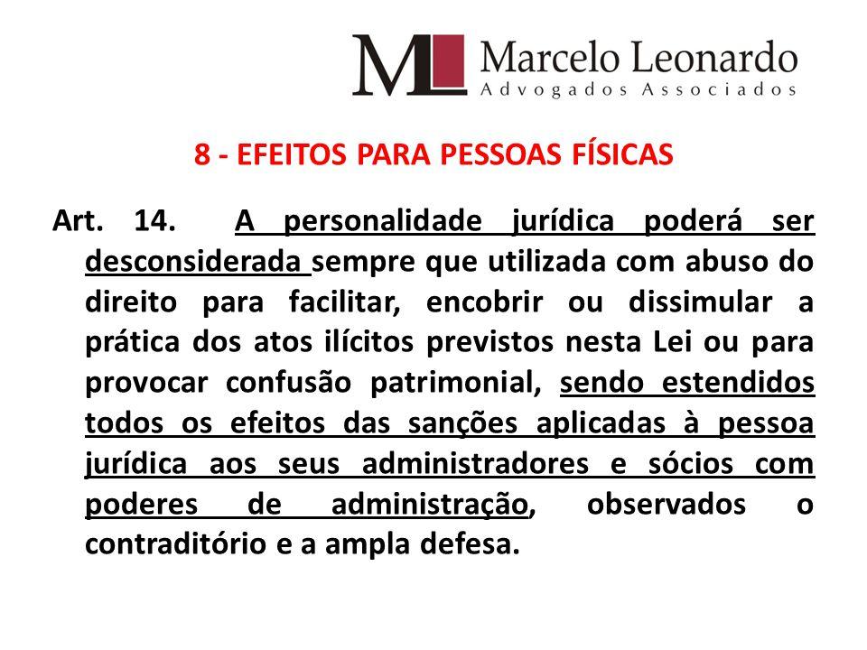 8 - EFEITOS PARA PESSOAS FÍSICAS Art.14.