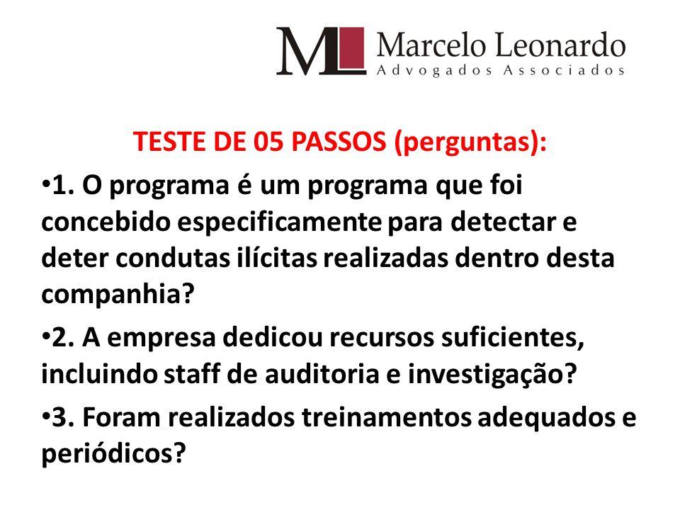 TESTE DE 05 PASSOS (perguntas): 1.