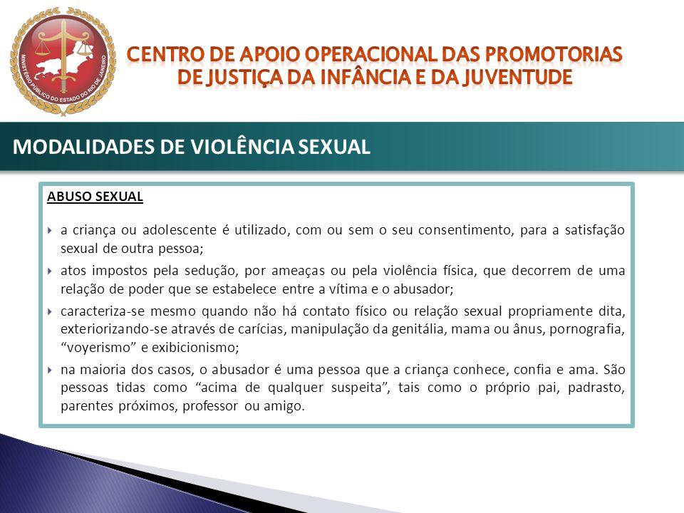 ABUSO SEXUAL  a criança ou adolescente é utilizado, com ou sem o seu consentimento, para a satisfação sexual de outra pessoa;  atos impostos pela se