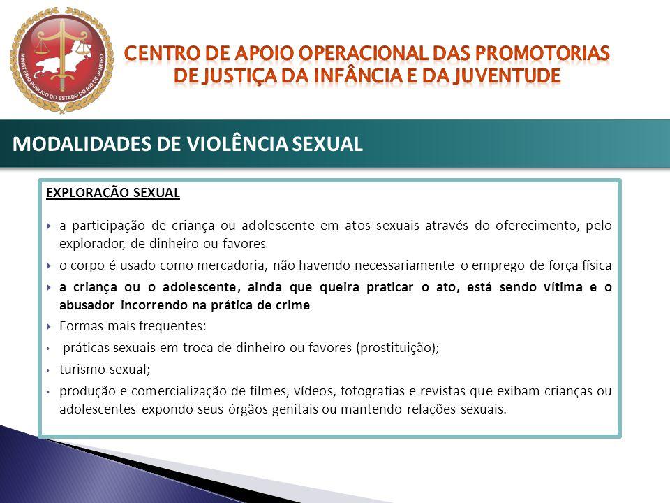 EXPLORAÇÃO SEXUAL  a participação de criança ou adolescente em atos sexuais através do oferecimento, pelo explorador, de dinheiro ou favores  o corp