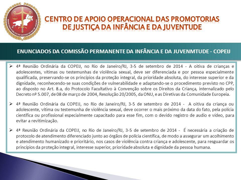 ENUNCIADOS DA COMISSÃO PERMANENTE DA INFÂNCIA E DA JUVENMTUDE - COPEIJ  4ª Reunião Ordinária da COPEIJ, no Rio de Janeiro/RJ, 3-5 de setembro de 2014