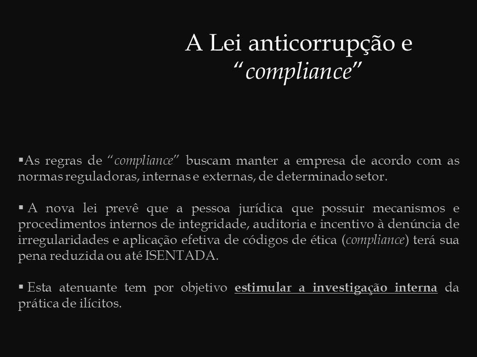 Conclusões  A Lei anticorrupção contribui para a reestruturação da cultura empresarial brasileira através da adoção de novos padrões éticos.