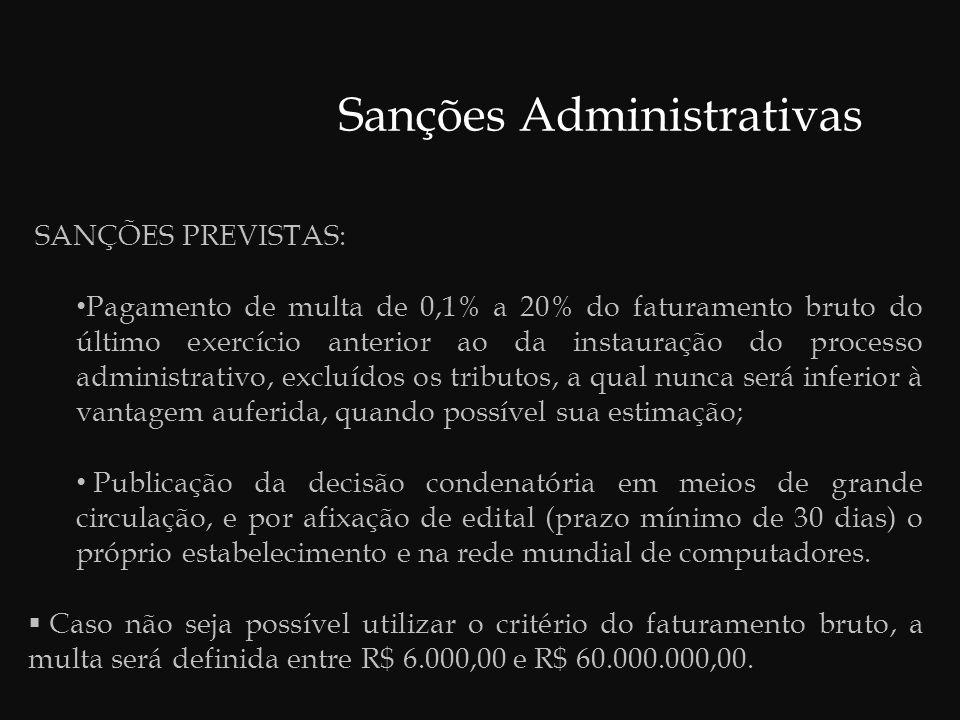 Sanções Administrativas  As sanções serão aplicadas de forma isolada ou cumulativamente, de acordo com as peculiaridades do caso concreto.