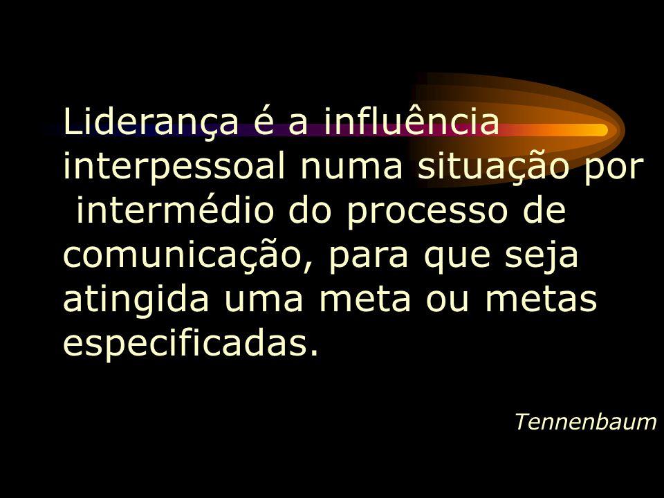 Liderança é a influência interpessoal numa situação por intermédio do processo de comunicação, para que seja atingida uma meta ou metas especificadas.