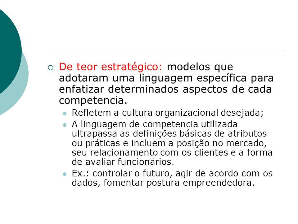  De teor estratégico: modelos que adotaram uma linguagem específica para enfatizar determinados aspectos de cada competencia. Refletem a cultura orga
