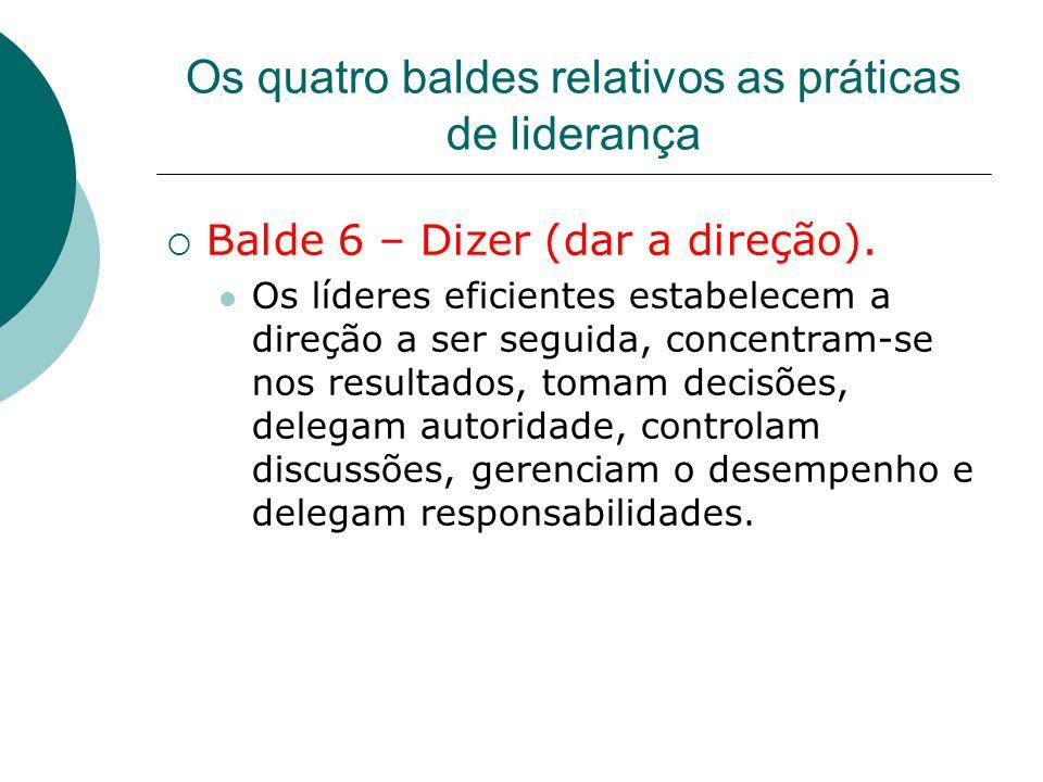 Os quatro baldes relativos as práticas de liderança  Balde 6 – Dizer (dar a direção). Os líderes eficientes estabelecem a direção a ser seguida, conc