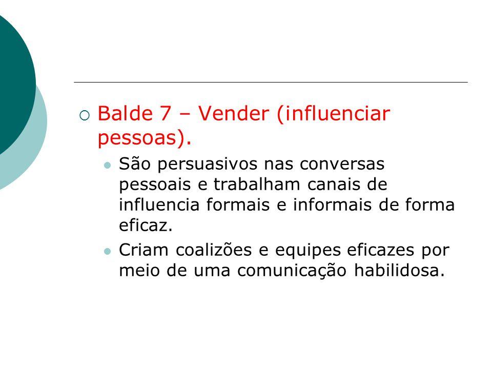  Balde 7 – Vender (influenciar pessoas). São persuasivos nas conversas pessoais e trabalham canais de influencia formais e informais de forma eficaz.