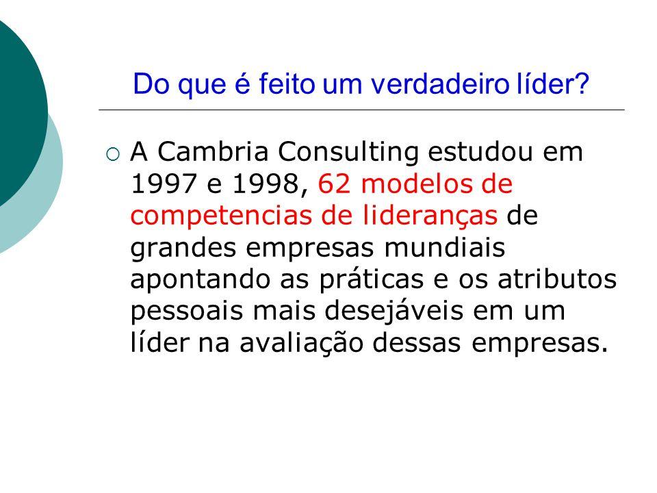 Do que é feito um verdadeiro líder?  A Cambria Consulting estudou em 1997 e 1998, 62 modelos de competencias de lideranças de grandes empresas mundia