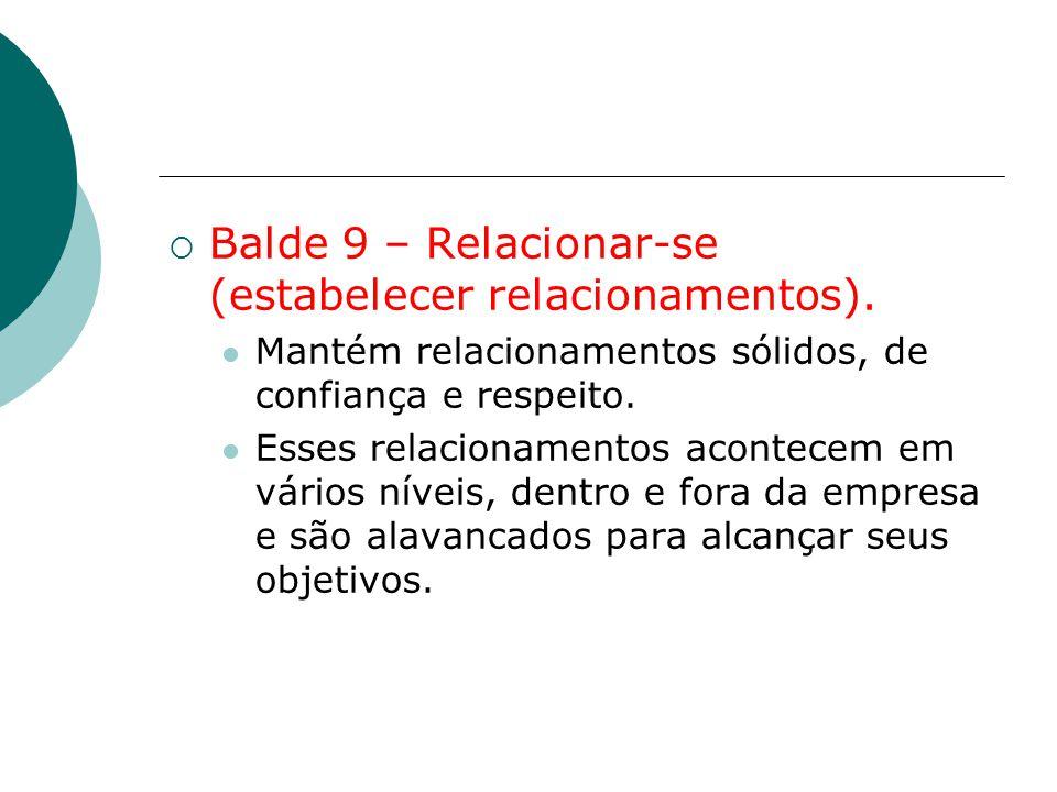  Balde 9 – Relacionar-se (estabelecer relacionamentos). Mantém relacionamentos sólidos, de confiança e respeito. Esses relacionamentos acontecem em v