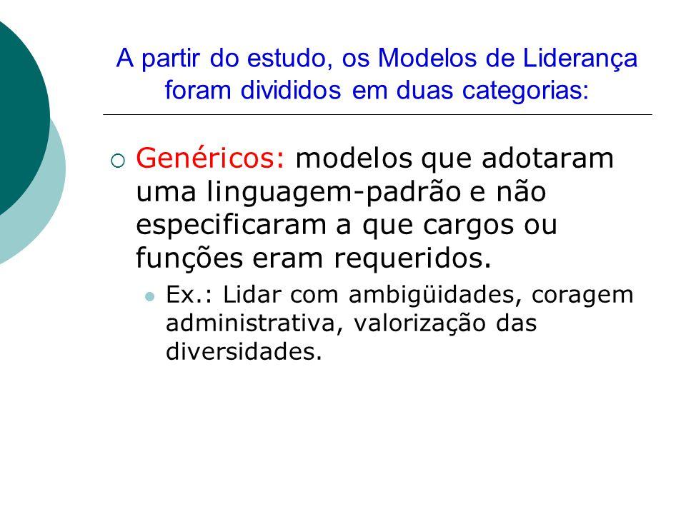 A partir do estudo, os Modelos de Liderança foram divididos em duas categorias:  Genéricos: modelos que adotaram uma linguagem-padrão e não especific