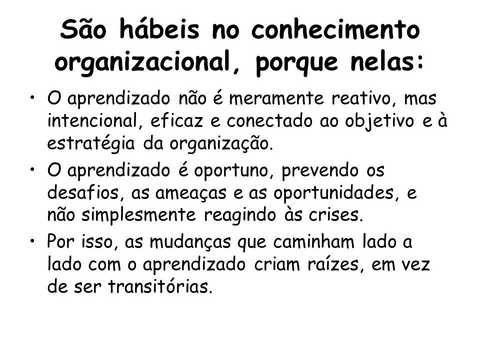 São hábeis no conhecimento organizacional, porque nelas: O aprendizado não é meramente reativo, mas intencional, eficaz e conectado ao objetivo e à estratégia da organização.
