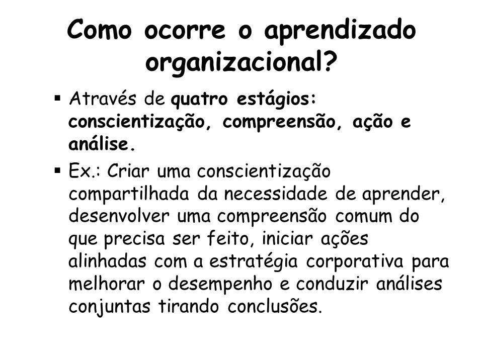 Como ocorre o aprendizado organizacional.