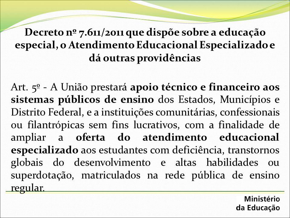 Decreto nº 7.611/2011 que dispõe sobre a educação especial, o Atendimento Educacional Especializado e dá outras providências Art. 5º - A União prestar
