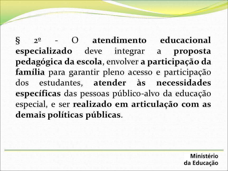 § 2º - O atendimento educacional especializado deve integrar a proposta pedagógica da escola, envolver a participação da família para garantir pleno a