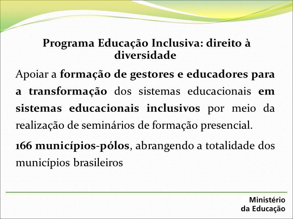 Programa Educação Inclusiva: direito à diversidade Apoiar a formação de gestores e educadores para a transformação dos sistemas educacionais em sistem