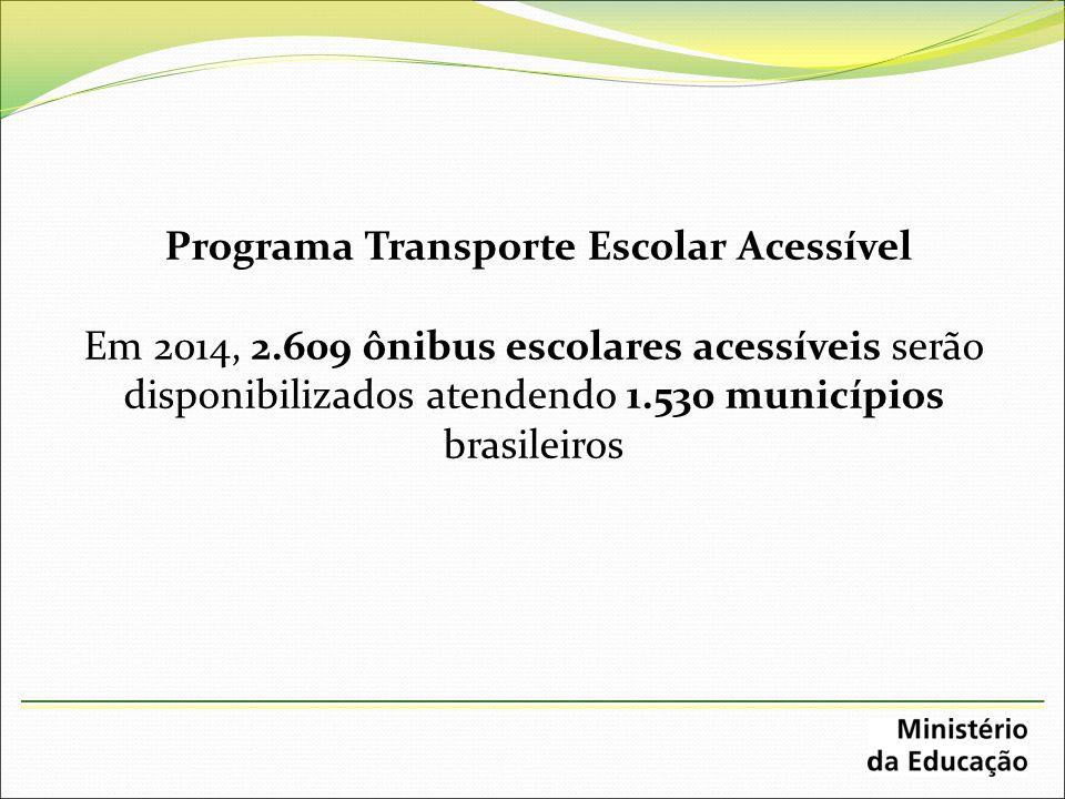 Programa Transporte Escolar Acessível Em 2014, 2.609 ônibus escolares acessíveis serão disponibilizados atendendo 1.530 municípios brasileiros