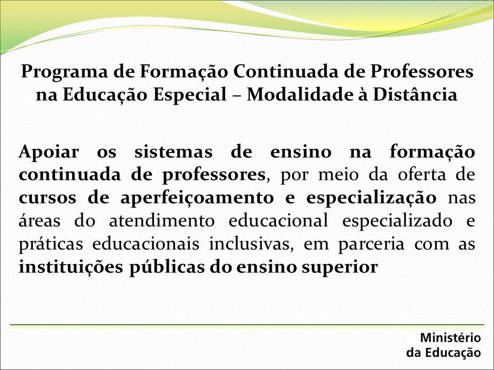Programa de Formação Continuada de Professores na Educação Especial – Modalidade à Distância Apoiar os sistemas de ensino na formação continuada de pr
