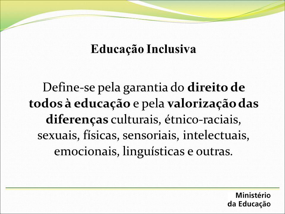 Educação Inclusiva Define-se pela garantia do direito de todos à educação e pela valorização das diferenças culturais, étnico-raciais, sexuais, física
