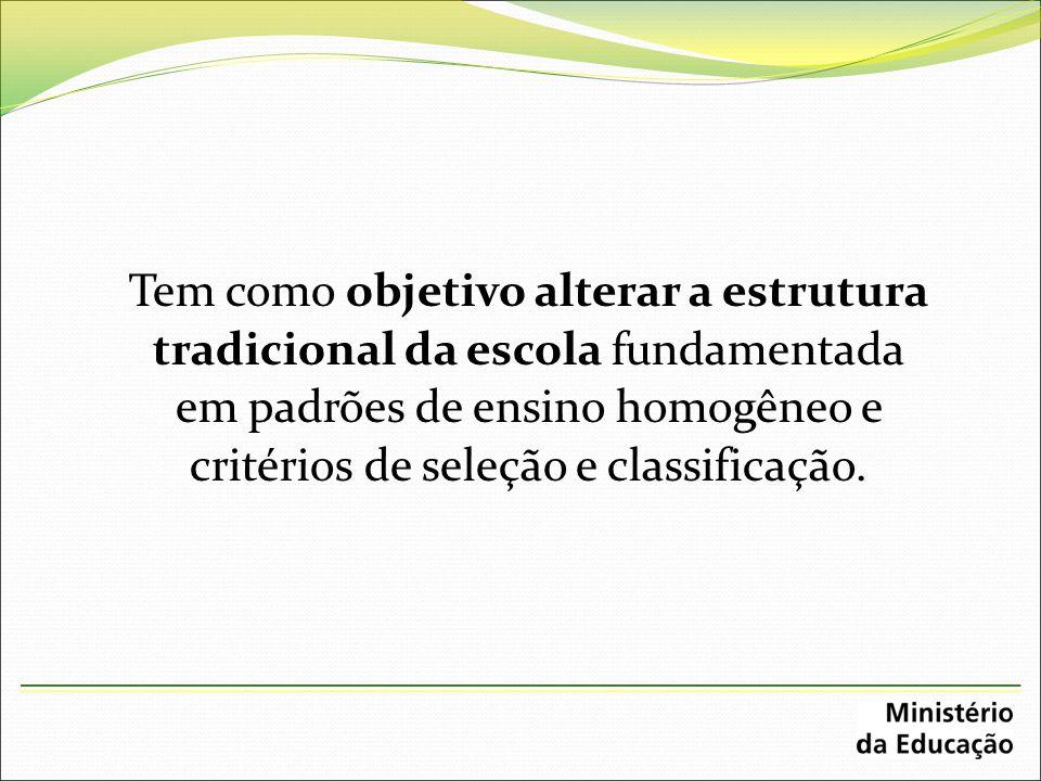 Tem como objetivo alterar a estrutura tradicional da escola fundamentada em padrões de ensino homogêneo e critérios de seleção e classificação.