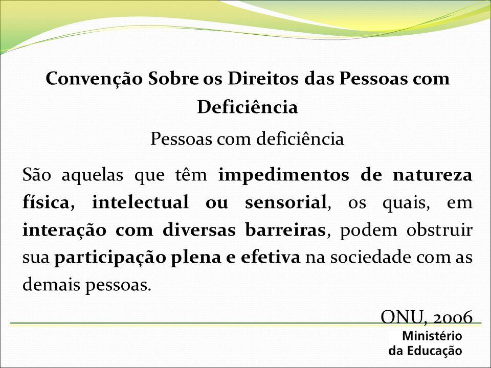 Convenção Sobre os Direitos das Pessoas com Deficiência Pessoas com deficiência São aquelas que têm impedimentos de natureza física, intelectual ou se