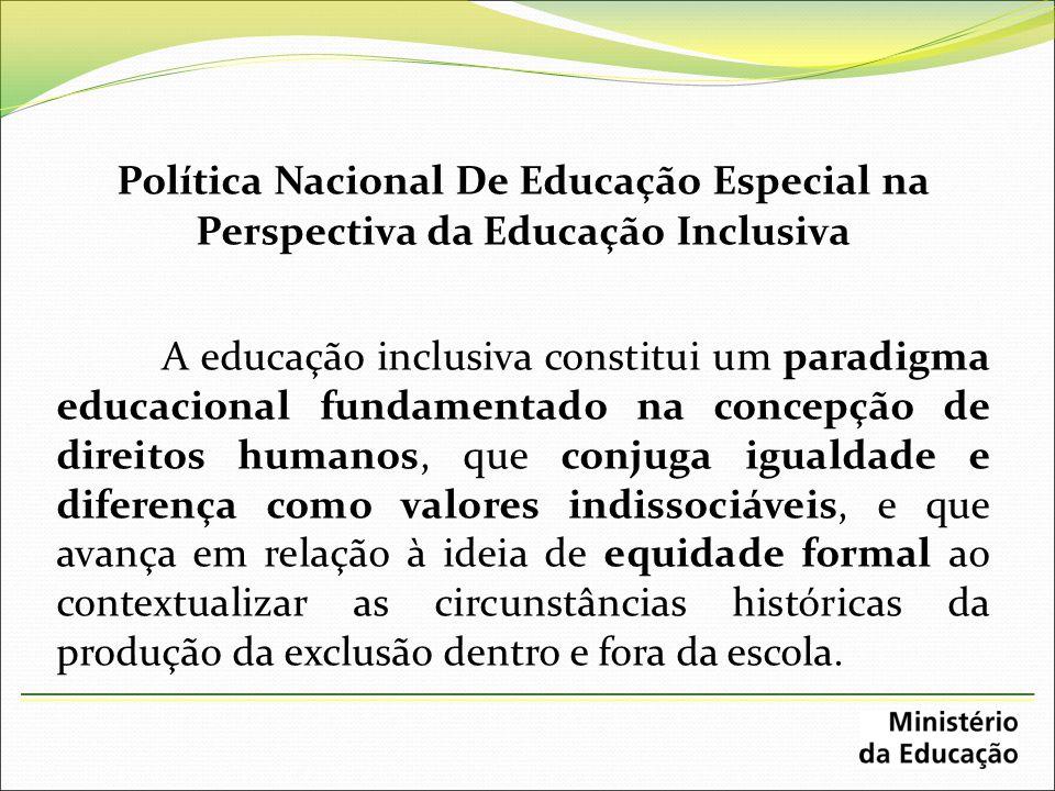 Política Nacional De Educação Especial na Perspectiva da Educação Inclusiva A educação inclusiva constitui um paradigma educacional fundamentado na co