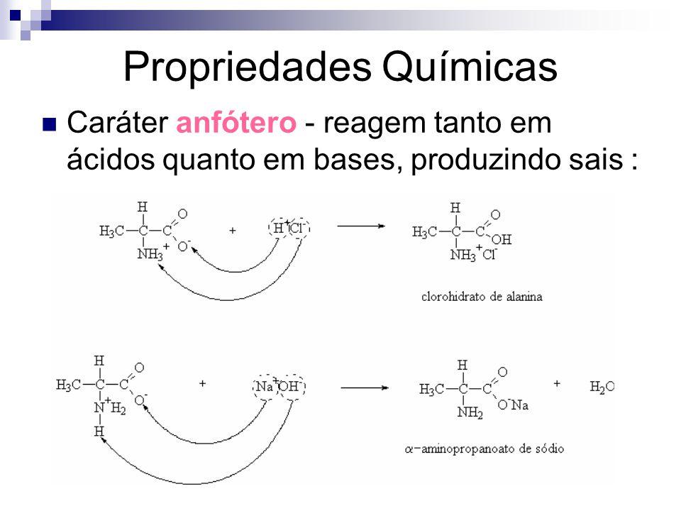 Propriedades Químicas Caráter anfótero - reagem tanto em ácidos quanto em bases, produzindo sais :