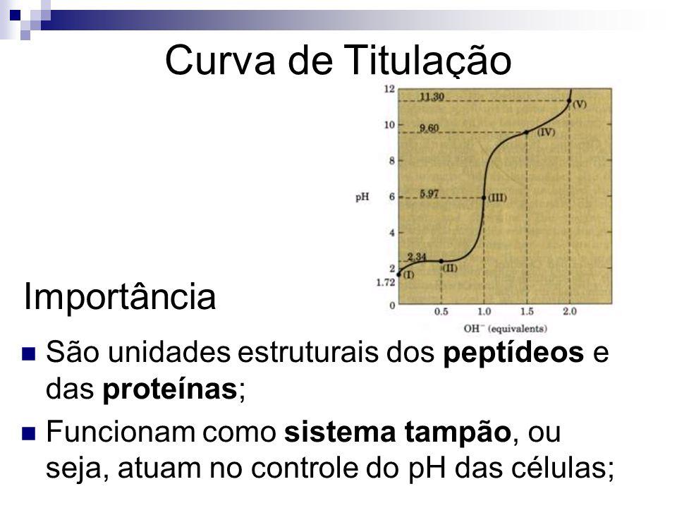 Curva de Titulação Importância São unidades estruturais dos peptídeos e das proteínas; Funcionam como sistema tampão, ou seja, atuam no controle do pH