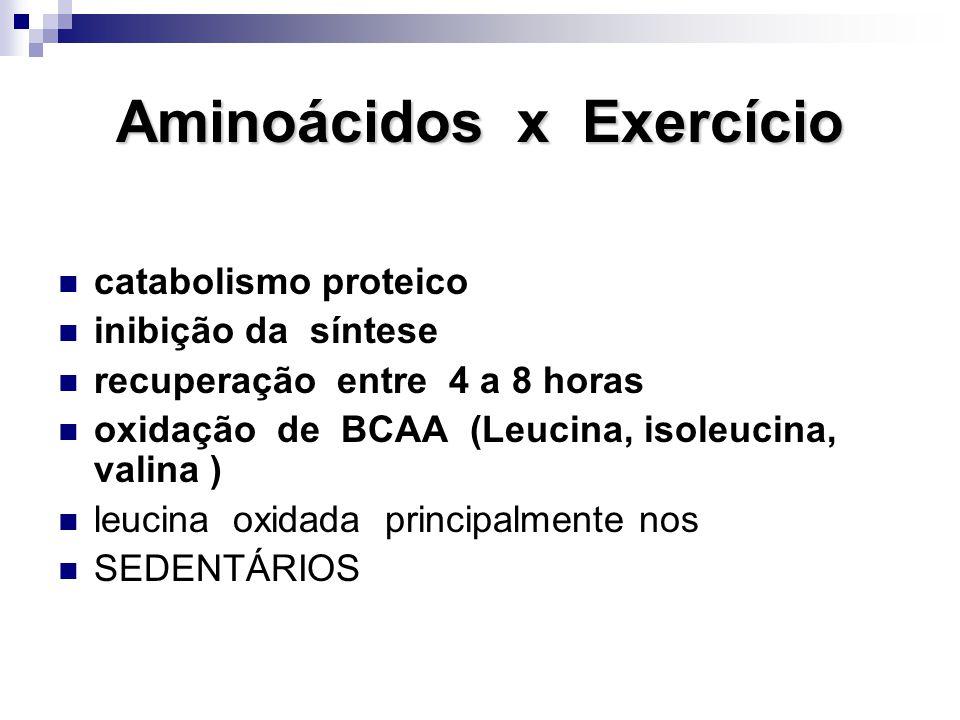 Aminoácidos x Exercício catabolismo proteico inibição da síntese recuperação entre 4 a 8 horas oxidação de BCAA (Leucina, isoleucina, valina ) leucina