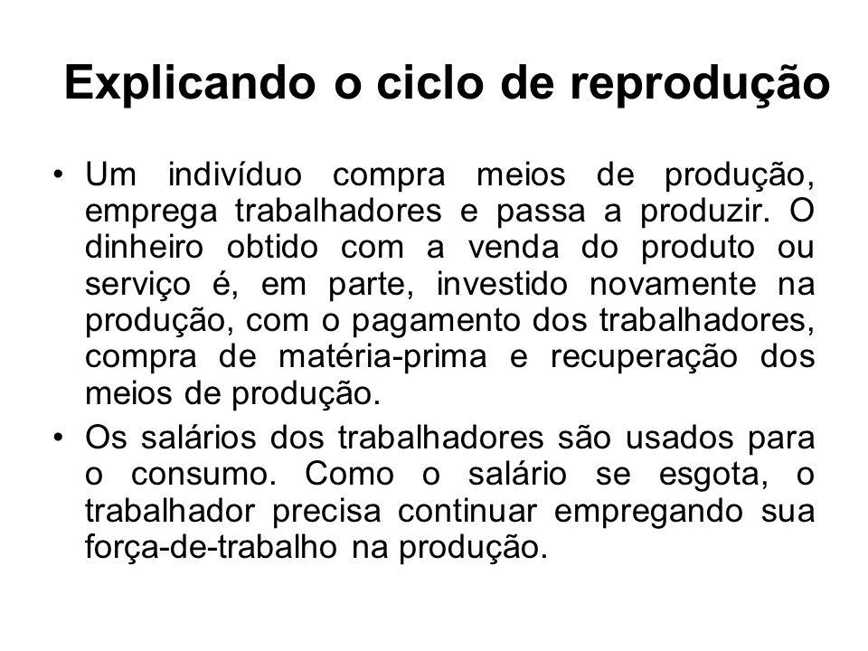 Explicando o ciclo de reprodução Um indivíduo compra meios de produção, emprega trabalhadores e passa a produzir.