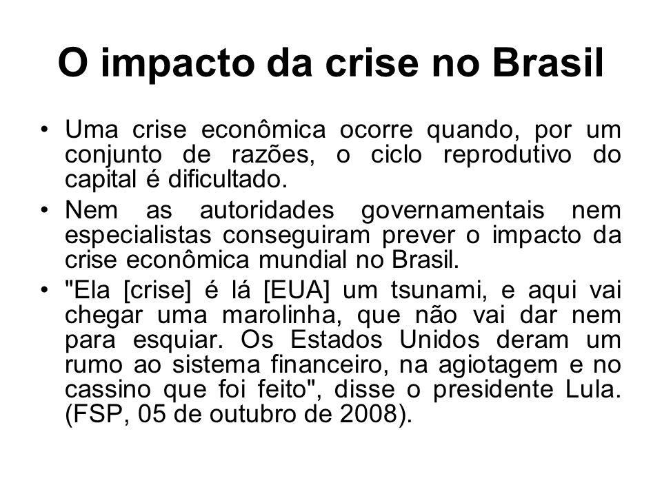 O impacto da crise no Brasil Uma crise econômica ocorre quando, por um conjunto de razões, o ciclo reprodutivo do capital é dificultado.