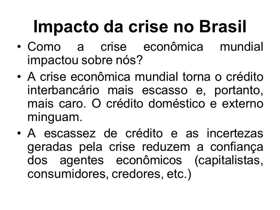 Impacto da crise no Brasil Como a crise econômica mundial impactou sobre nós.
