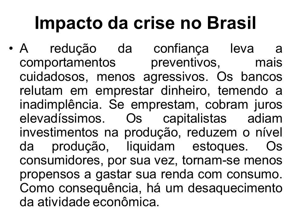 Impacto da crise no Brasil A redução da confiança leva a comportamentos preventivos, mais cuidadosos, menos agressivos.