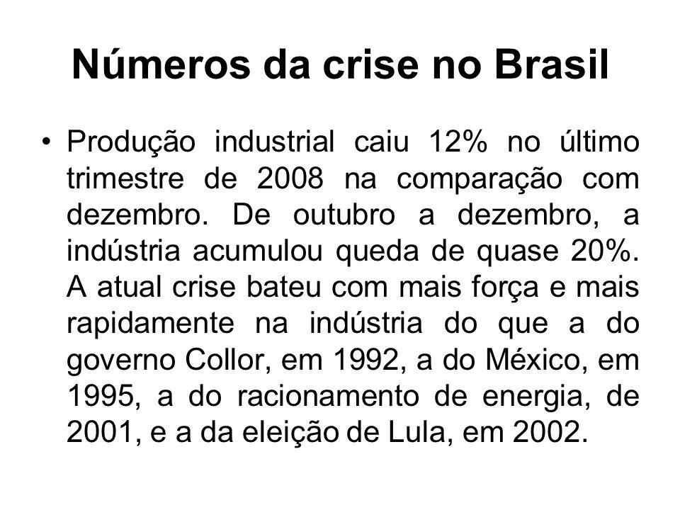 Números da crise no Brasil Produção industrial caiu 12% no último trimestre de 2008 na comparação com dezembro.