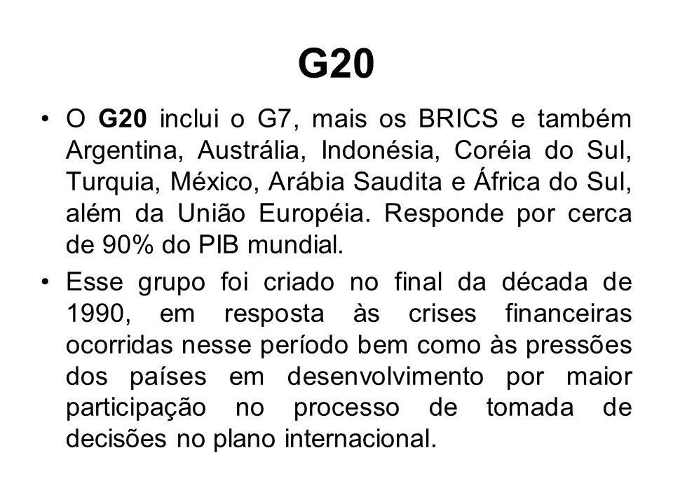 G20 O G20 inclui o G7, mais os BRICS e também Argentina, Austrália, Indonésia, Coréia do Sul, Turquia, México, Arábia Saudita e África do Sul, além da União Européia.