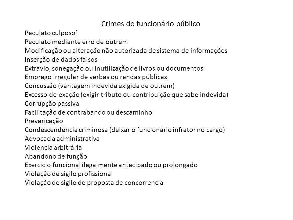Crimes do funcionário público Peculato culposo' Peculato mediante erro de outrem Modificação ou alteração não autorizada de sistema de informações Ins
