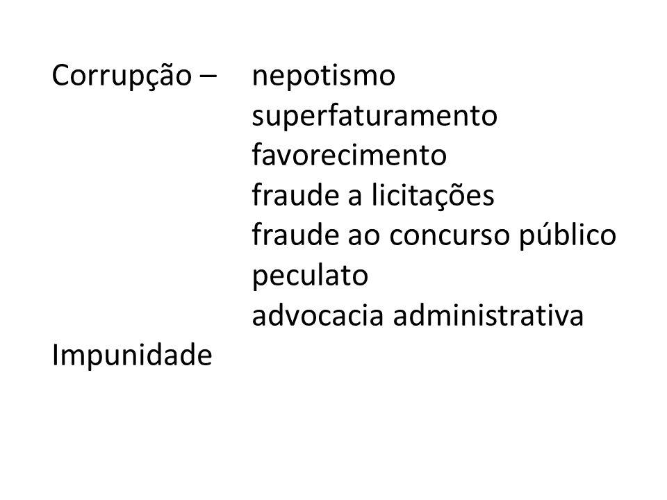 Corrupção – nepotismo superfaturamento favorecimento fraude a licitações fraude ao concurso público peculato advocacia administrativa Impunidade