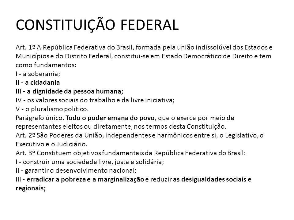 CONSTITUIÇÃO FEDERAL Art. 1º A República Federativa do Brasil, formada pela união indissolúvel dos Estados e Municípios e do Distrito Federal, constit
