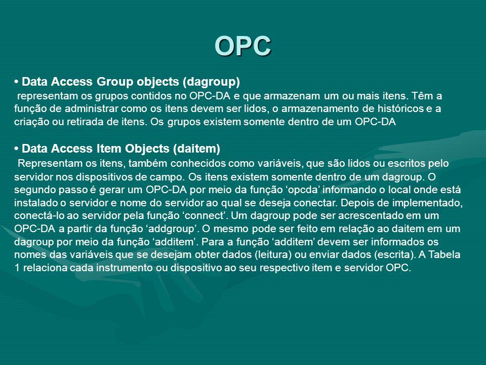 OPC Data Access Group objects (dagroup) representam os grupos contidos no OPC-DA e que armazenam um ou mais itens. Têm a função de administrar como os