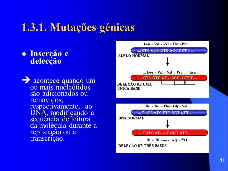 10 1.3.1. Mutações génicas ● O alelo para a hemoglobina S (cadeia β ) é recessivo. ● Os indivíduos heterozigóticos (Hb A Hb S ), portadores, são resis
