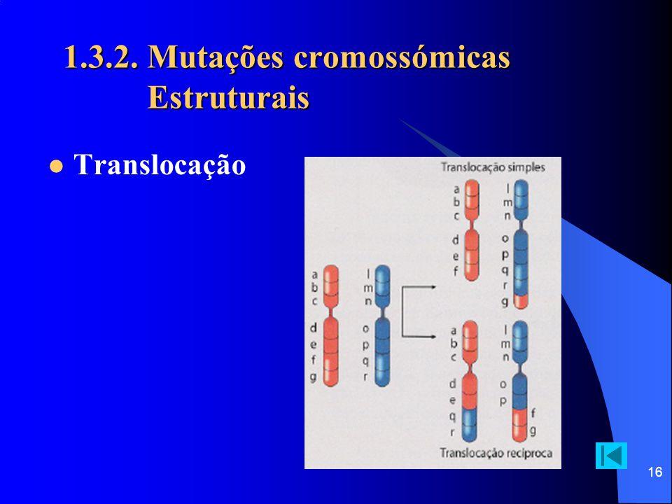 15 1.3.2. Mutações cromossómicas Estruturais Delecção / duplicação / inversão