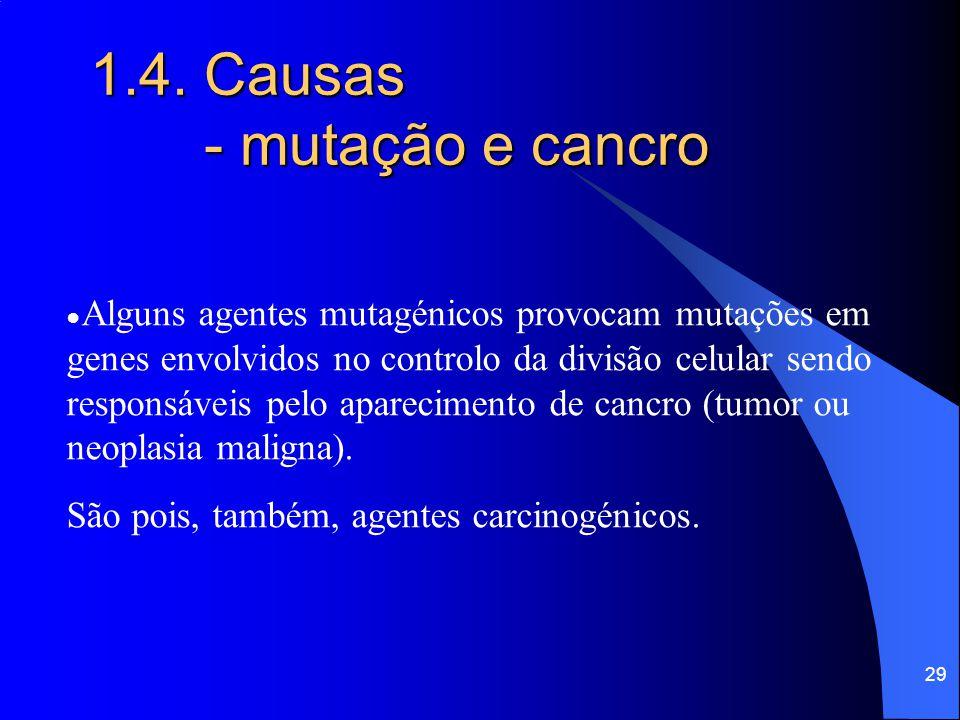28 1.4. Causas ● A exposição a agentes mutagénicos é, em alguns casos, natural e inevitável, como a exposição a fontes naturais de radiação solar, rad